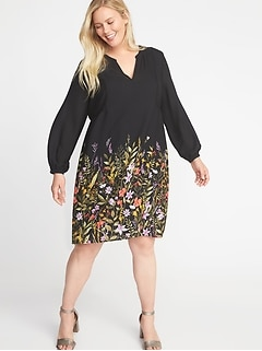 Georgette Plus-Size Swing Dress