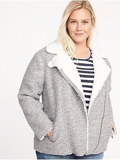 Sherpa-Lined Plus-Size Moto Jacket