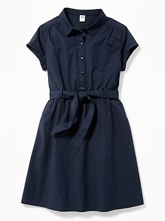 Uniform Tie-Waist Shirt Dress for Girls