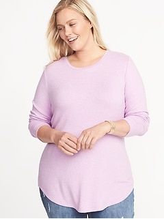 Relaxed Plus-Size Plush-Knit Tunic