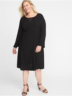 Fit & Flare Flute-Sleeve Plus-Size Dress