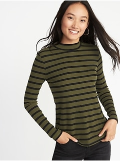 Slim-Fit Rib-Knit Mock-Neck Tee for Women
