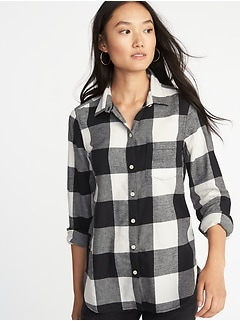 Relaxed Plaid Twill Classic Shirt for Women