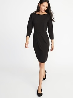 Ponte-Knit 3/4-Sleeve Sheath Dress for Women