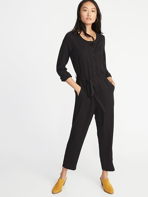 Tie Belt Utility Jumpsuit For Women by Old Navy