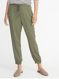 Mid-Rise Soft Twill Utility Joggers for Women