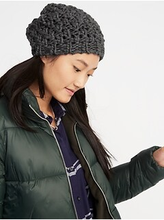 Textured Basket-Weave Beanie for Women