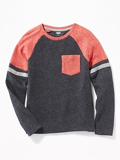 Sweater-Knit Pocket Tee for Boys