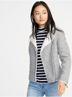 Sherpa-Lined Moto Jacket for Women