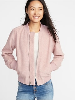 Textured Jacquard Zip Bomber Jacket for Women