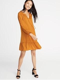 Satin Poet-Sleeve Swing Dress for Women