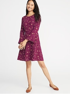 Fit & Flare Flute-Sleeve Dress for Women