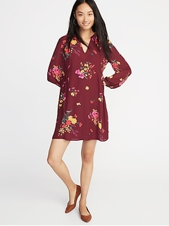 Floral-Print Georgette Swing Dress for Women