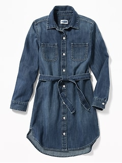 Denim Tie-Belt Shirt Dress for Girls