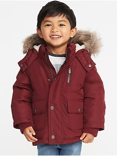 Hooded Faux-Fur Trim Snow Jacket for Toddler Boys