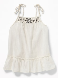 Braided-Strap Slub-Weave Peplum Top for Girls