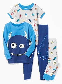 4-Piece Monster-Graphic Sleep Set for Toddler Boys & Baby