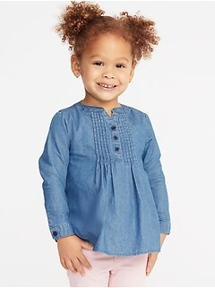 Chambray Pintuck Tunic for Toddler Girls