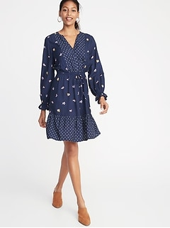 Mixed-Print Waist-Defined Shirt Dress for Women