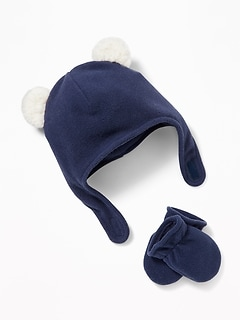 Micro Performance Fleece Trapper-Critter Hat & Mittens Set for Baby