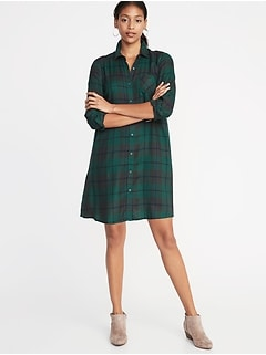 Plaid Swing Shirt Dress for Women