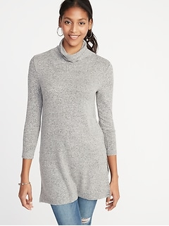 Plush-Knit Turtleneck Tunic for Women