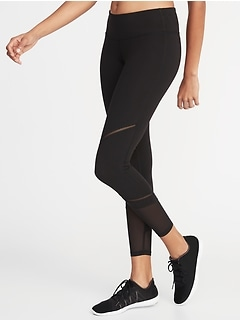 Mid-Rise Mesh-Trim 7/8-Length Leggings for Women
