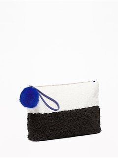 Two-Tone Sherpa Clutch for Women