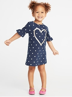 French Terry Ruffle-Sleeve Shift Dress for Toddler Girls