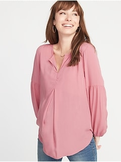 Maternity Lightweight Split-Neck Blouse