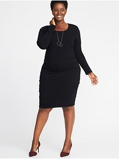 Jersey Scoop-Neck Plus-Size Bodycon Dress