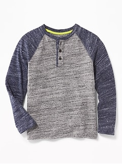 Color-Block Raglan-Sleeve Henley for Boys