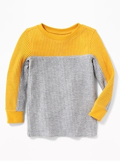 Chunky Color-Block Thermal Tee for Toddler Boys