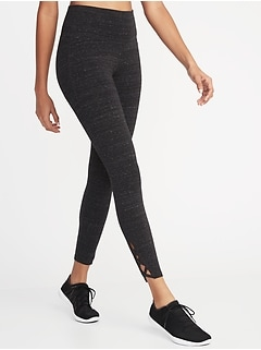 High-Rise 7/8-Length Lattice-Hem Yoga Leggings for Women