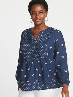 Mixed-Print Plus-Size Poet-Sleeve Blouse
