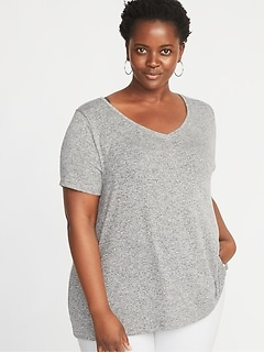 Plush-Knit Plus-Size Luxe V-Neck Tee