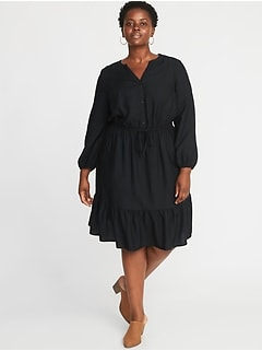 Waist-Defined Plus-Size No-Peek Dress