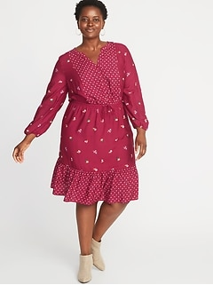 Mixed-Print Waist-Defined Plus-Size No-Peek Dress