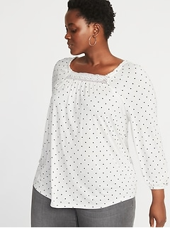 Relaxed Plus-Size Crochet-Trim Top
