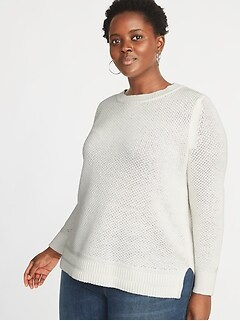 Plus-Size Open-Stitch Sweater