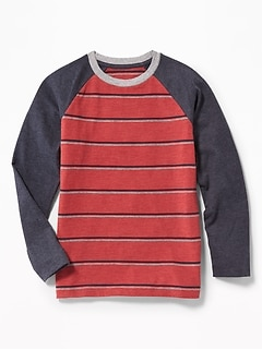 Striped Color-Block Raglan Tee for Boys