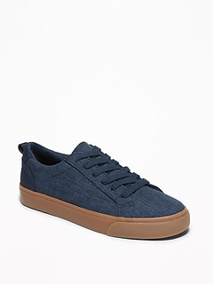 Textured Canvas Lace-Up Sneakers for Boys