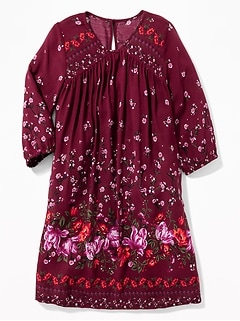 Floral-Print 3/4-Sleeve Swing Dress for Girls