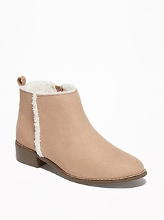 Faux-Suede Sherpa-Lined Boots for Girls