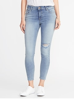 Mid-Rise Rockstar Super Skinny Distressed Ankle Jeans for Women