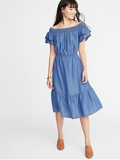Waist-Defined Tencel&#174 Tiered-Hem Midi for Women