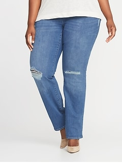 High-Rise Plus-Size Rockstar Pull-On Boot-Cut Jeans