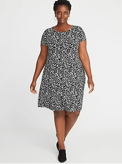 Short-Sleeve Plus-Size Jersey-Knit Swing Dress