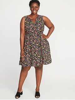 Sleeveless Plus-Size V-Neck Swing Dress