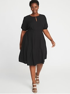 Keyhole Fit & Flare Plus-Size Dress